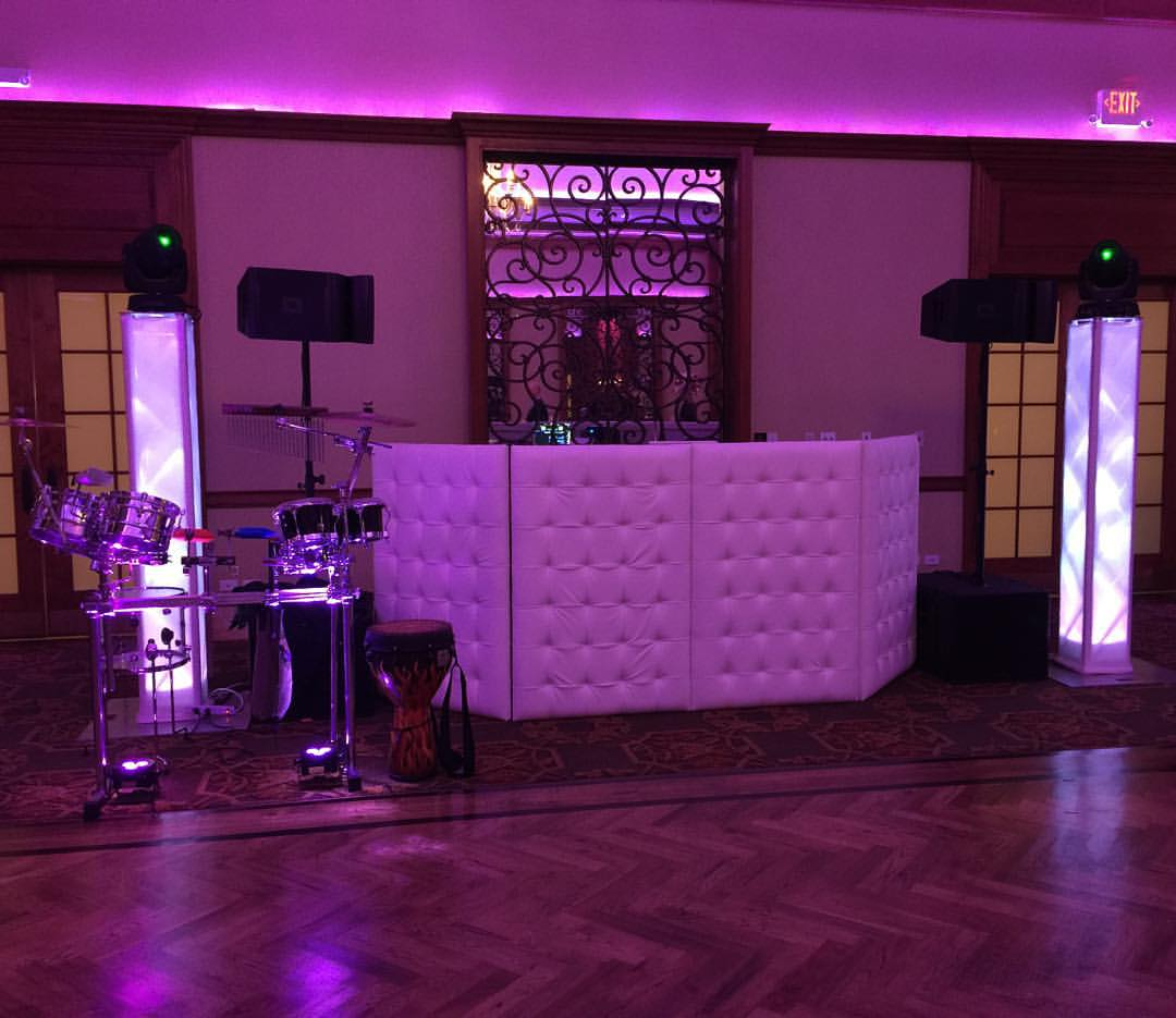 Custom White Tufted front board with JBL Sound System. Intelligent Lighting Percussion set up & Europa Sounds Photo Gallery: EUROPA » Set Ups » Custom White Tufted ...